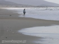 Walking on the beach in winter